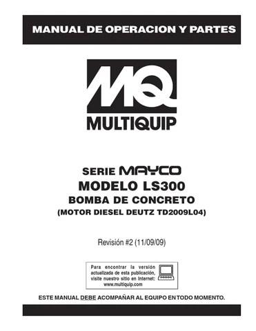 Pumps concrete masonry hydraulic swing tube mayco ls300
