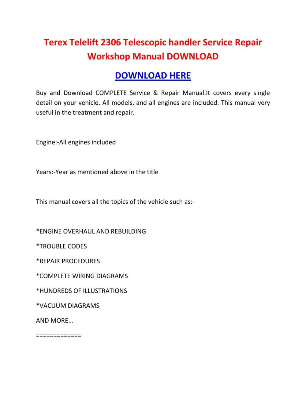 medium resolution of terex telelift 2306 telescopic handler service repair workshop manual download by sheffieldbronsonipqgz issuu