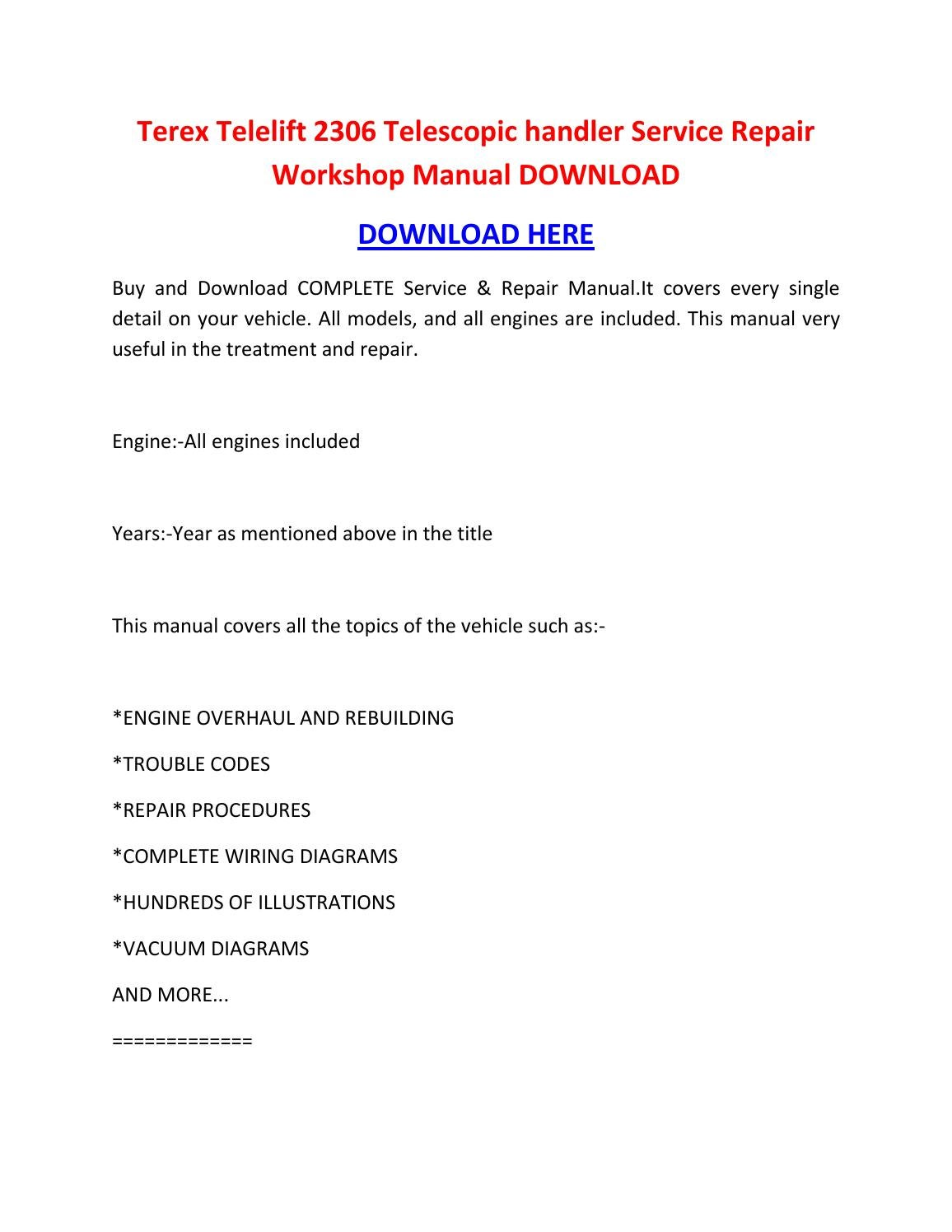 hight resolution of terex telelift 2306 telescopic handler service repair workshop manual download by sheffieldbronsonipqgz issuu