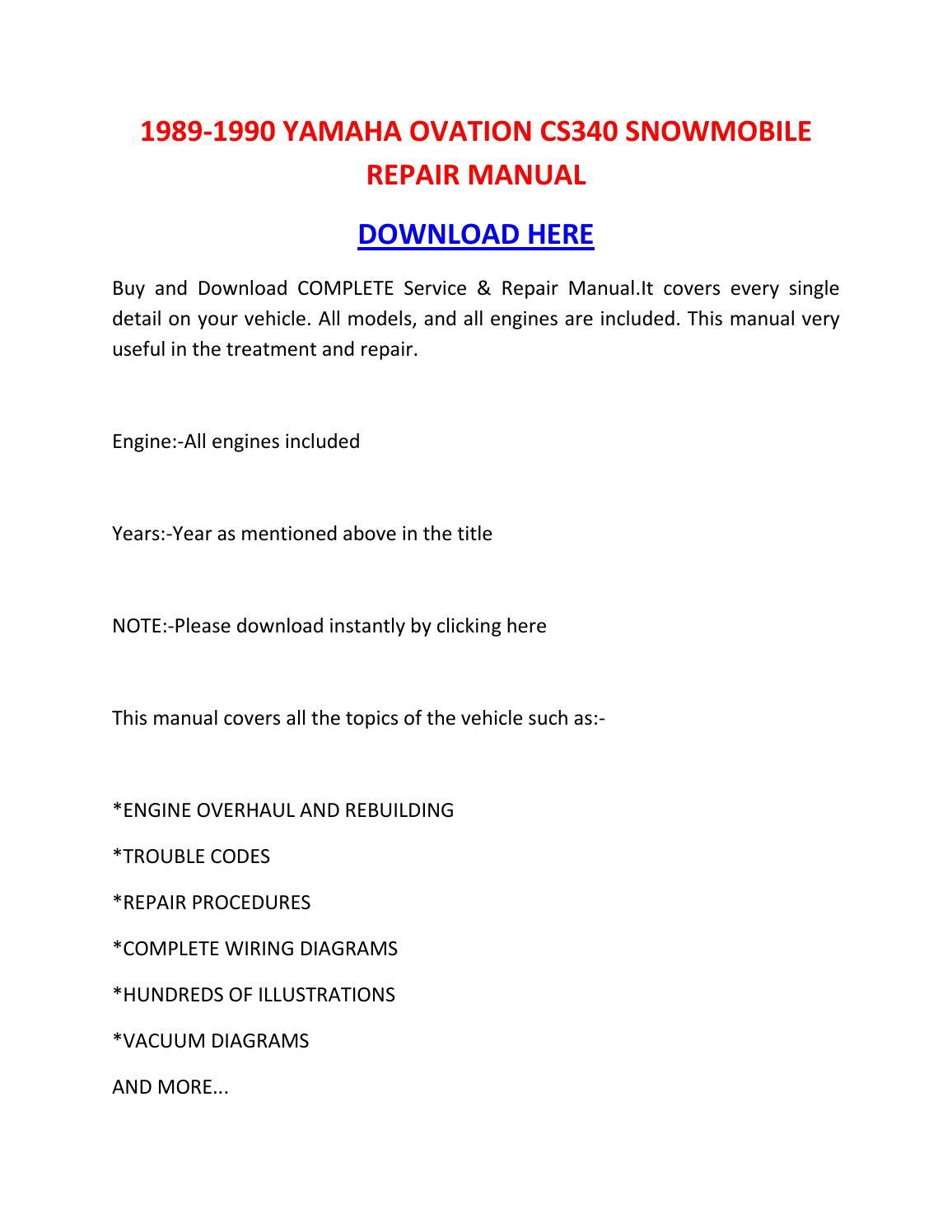 hight resolution of 1989 1990 yamaha ovation cs340 snowmobile repair manual