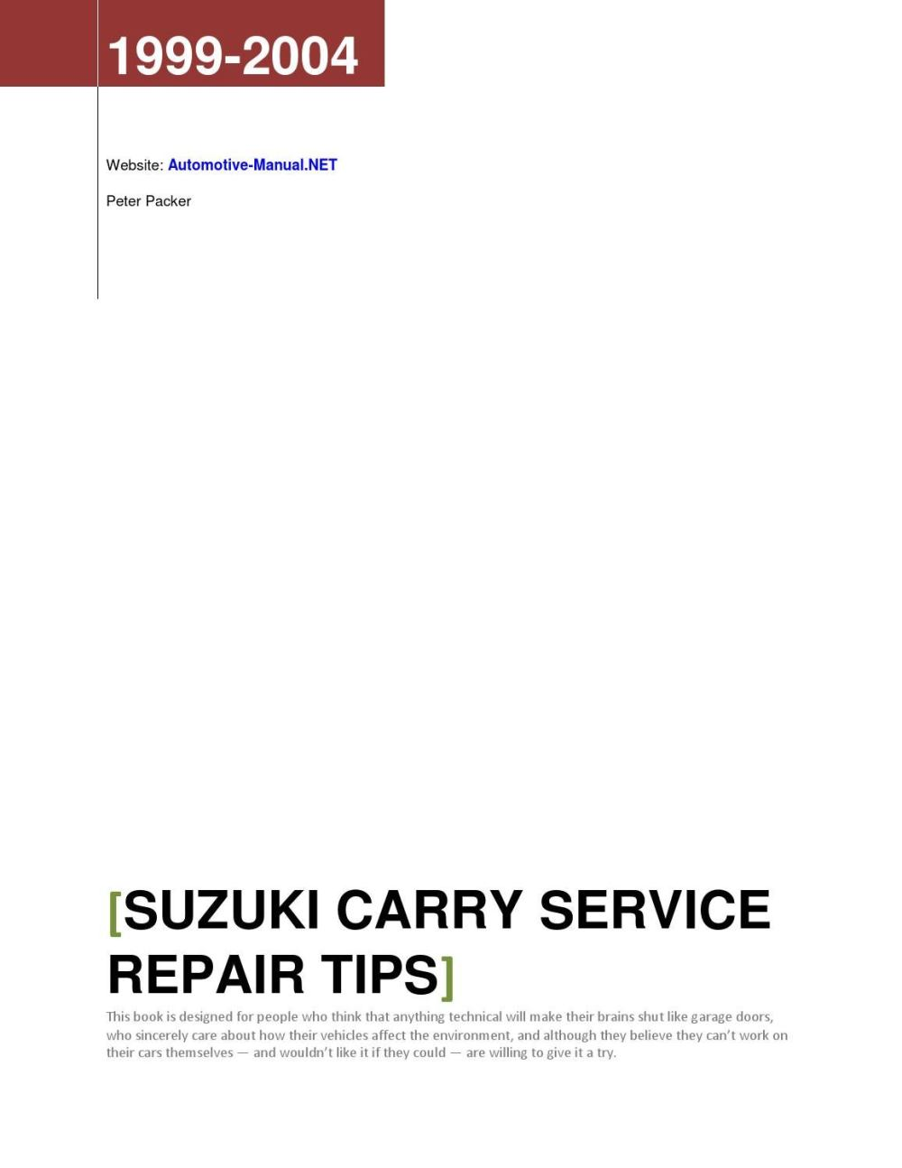 medium resolution of suzuki carry 1999 2004 service repair tips by armando oliver issuu
