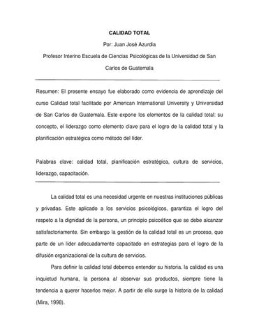 Ensayo Calidad Total By JÓse Azurdia Issuu