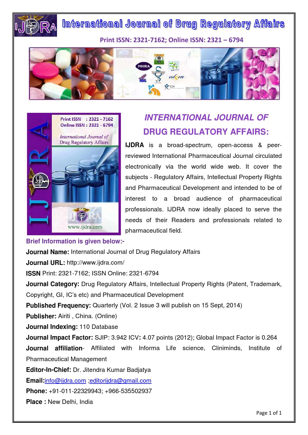 International Journal of Drug Regulatory Affairs by IJDRA  Issuu