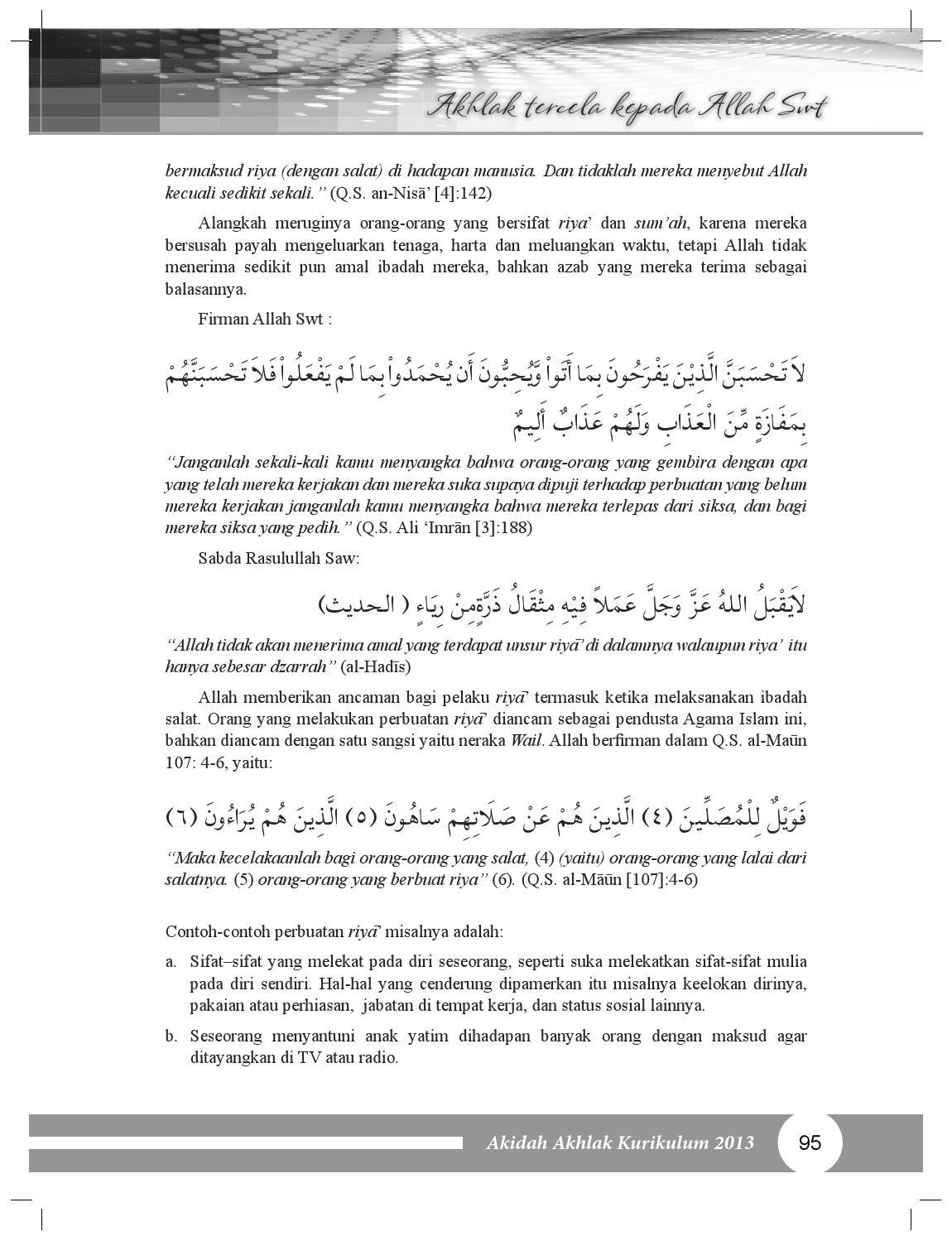 Contoh Riya Dalam Ibadah : contoh, dalam, ibadah, Akidah, Akhlak, Siswa, Madrasah, Tsanawiyah, Mandalahurip, Issuu