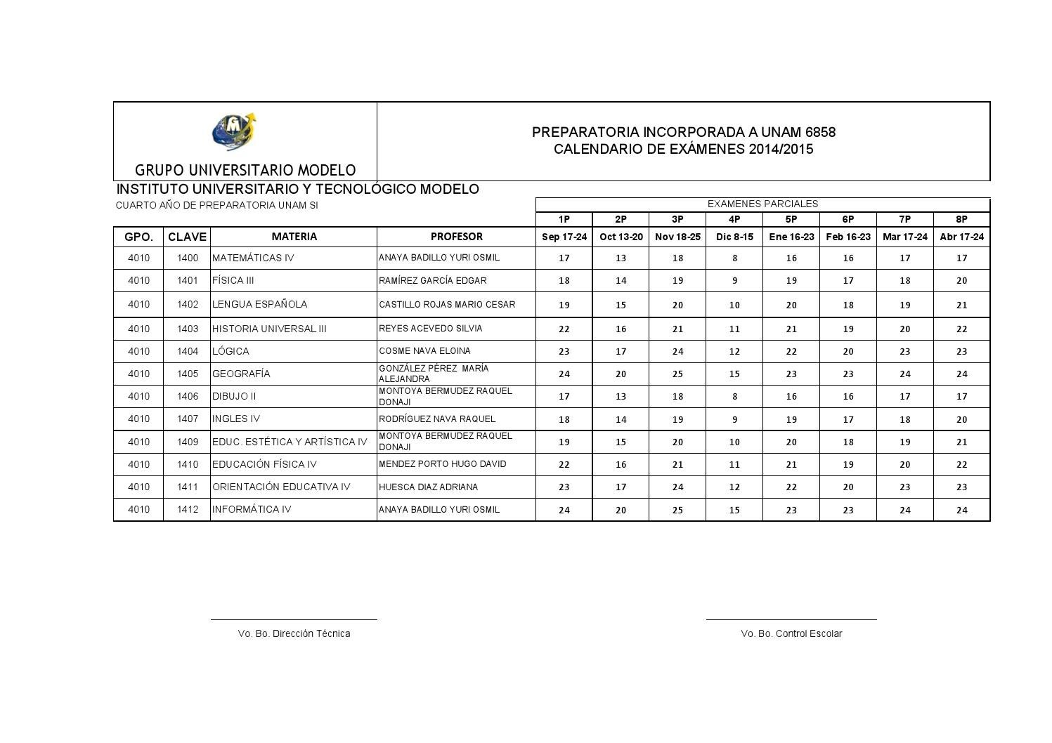 Calendario examenes preparatoria 2014 2015 by MIGUEL