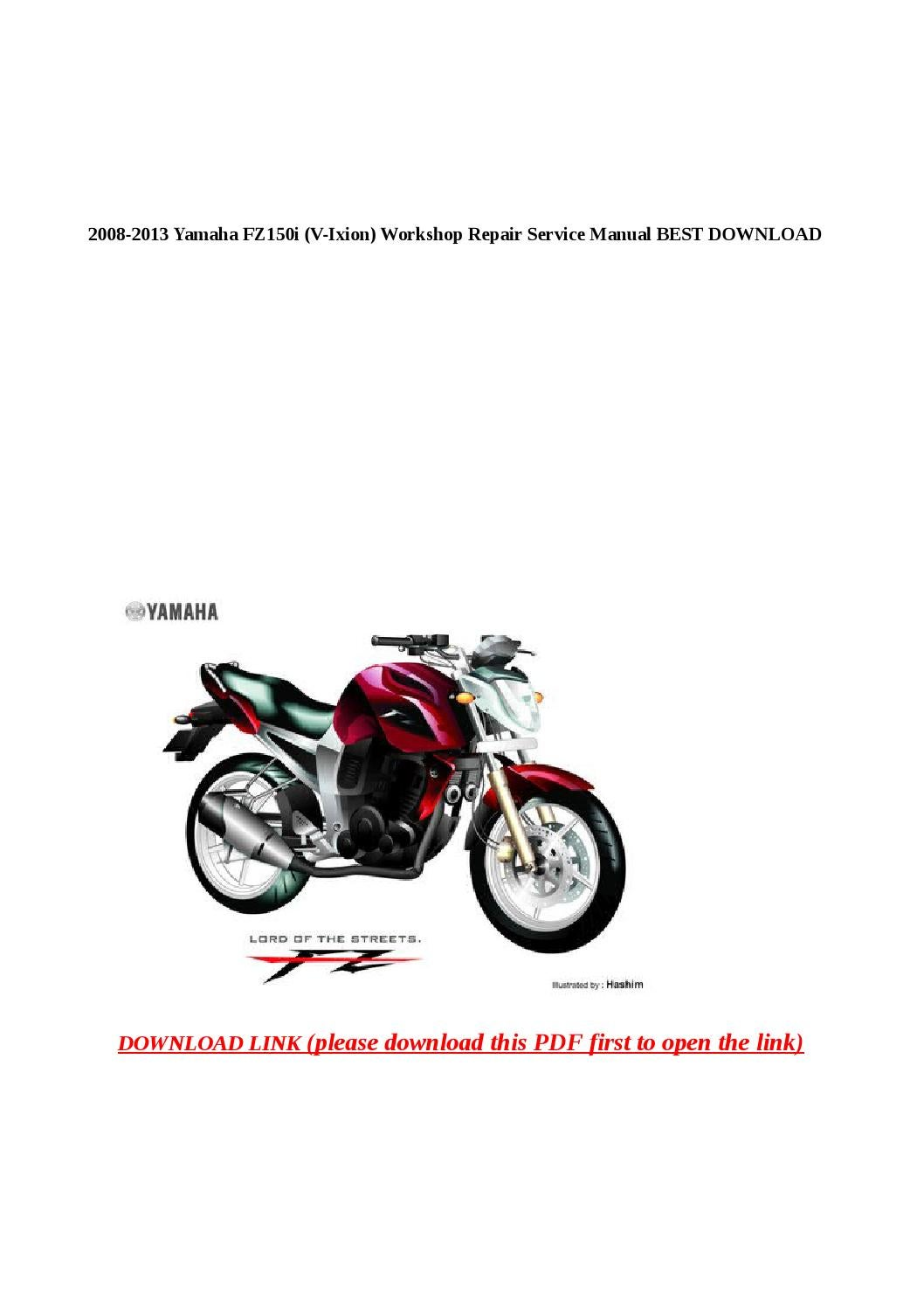 2008 2013 yamaha fz150i (v ixion) workshop repair service