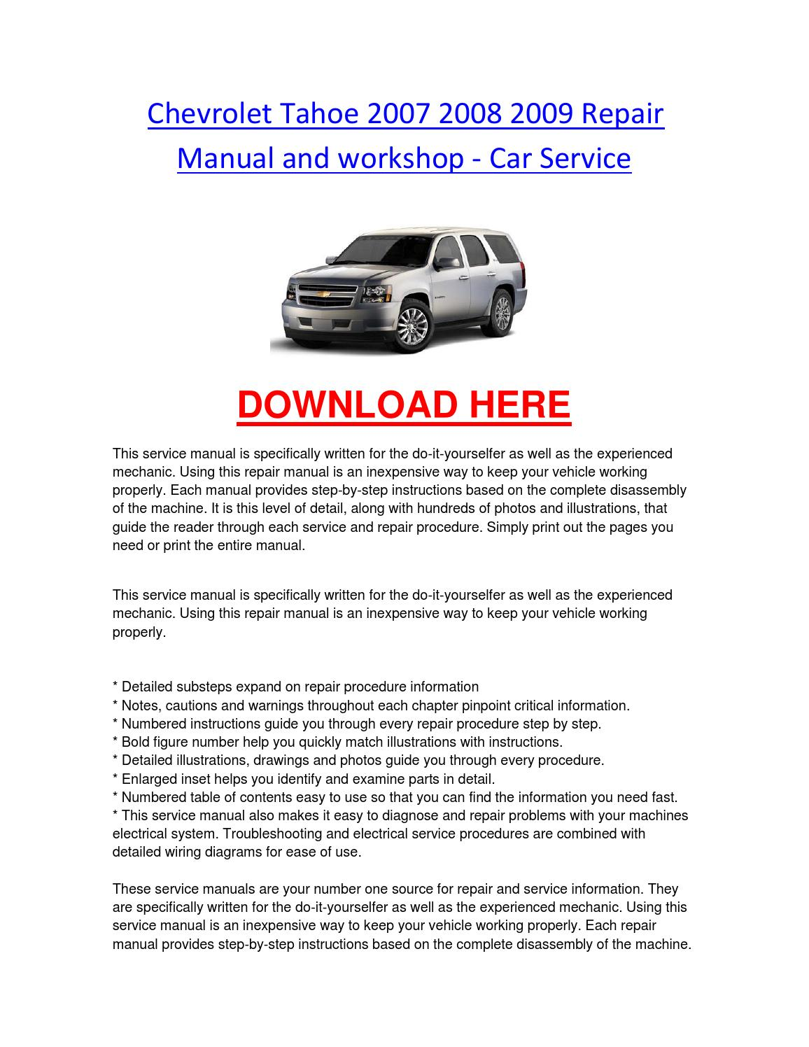 hight resolution of chevrolet tahoe 2007 2008 2009 repair manual and workshop car service