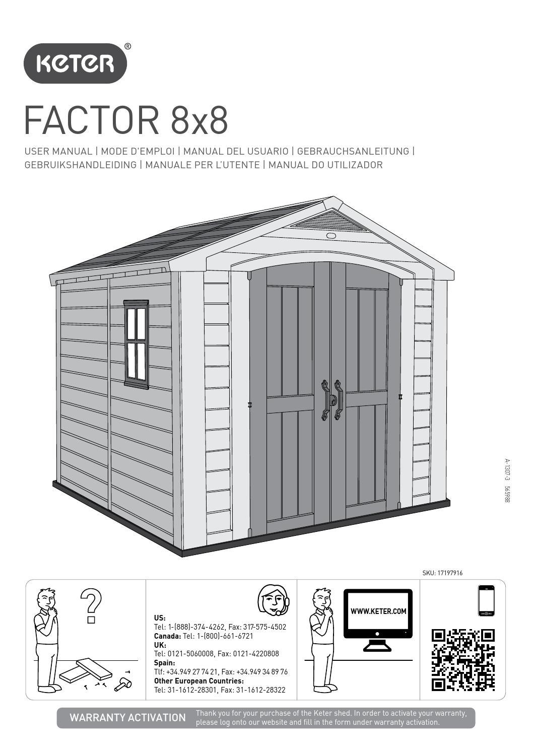 Manuale di montaggio casetta da giardino KETER FACTOR 8x8