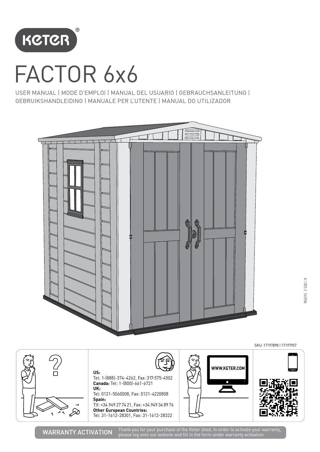 Manuale di montaggio casetta da giardino KETER FACTOR 6x6