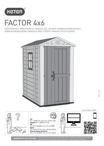 Manuale di montaggio casetta da giardino KETER FACTOR 4x6