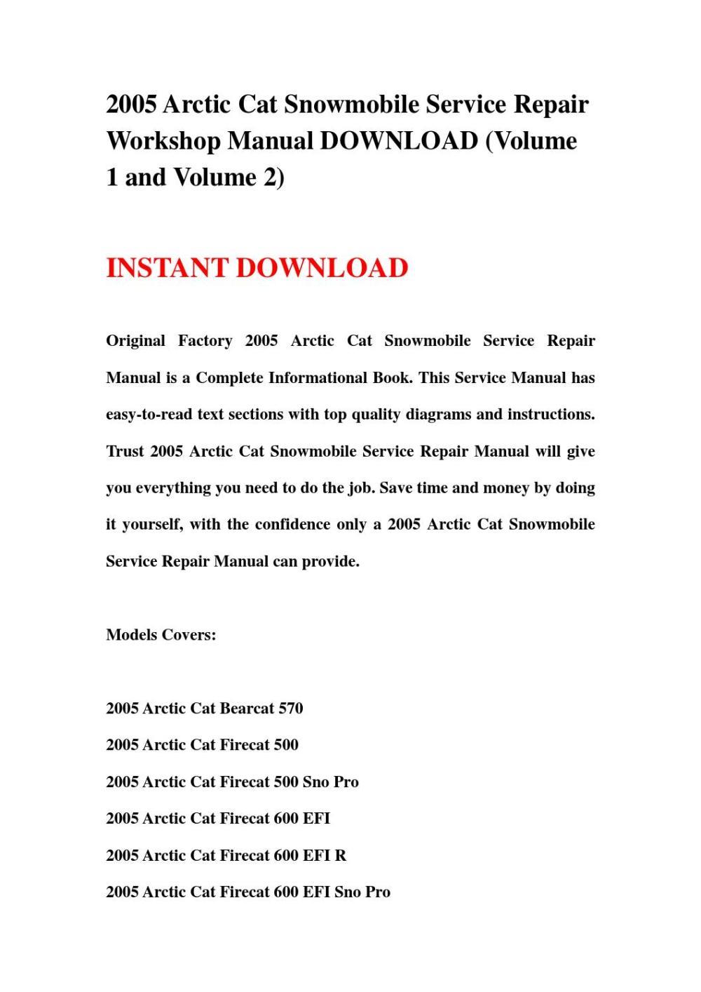 medium resolution of 2005 arctic cat snowmobile service repair workshop manual download volume 1 and volume 2