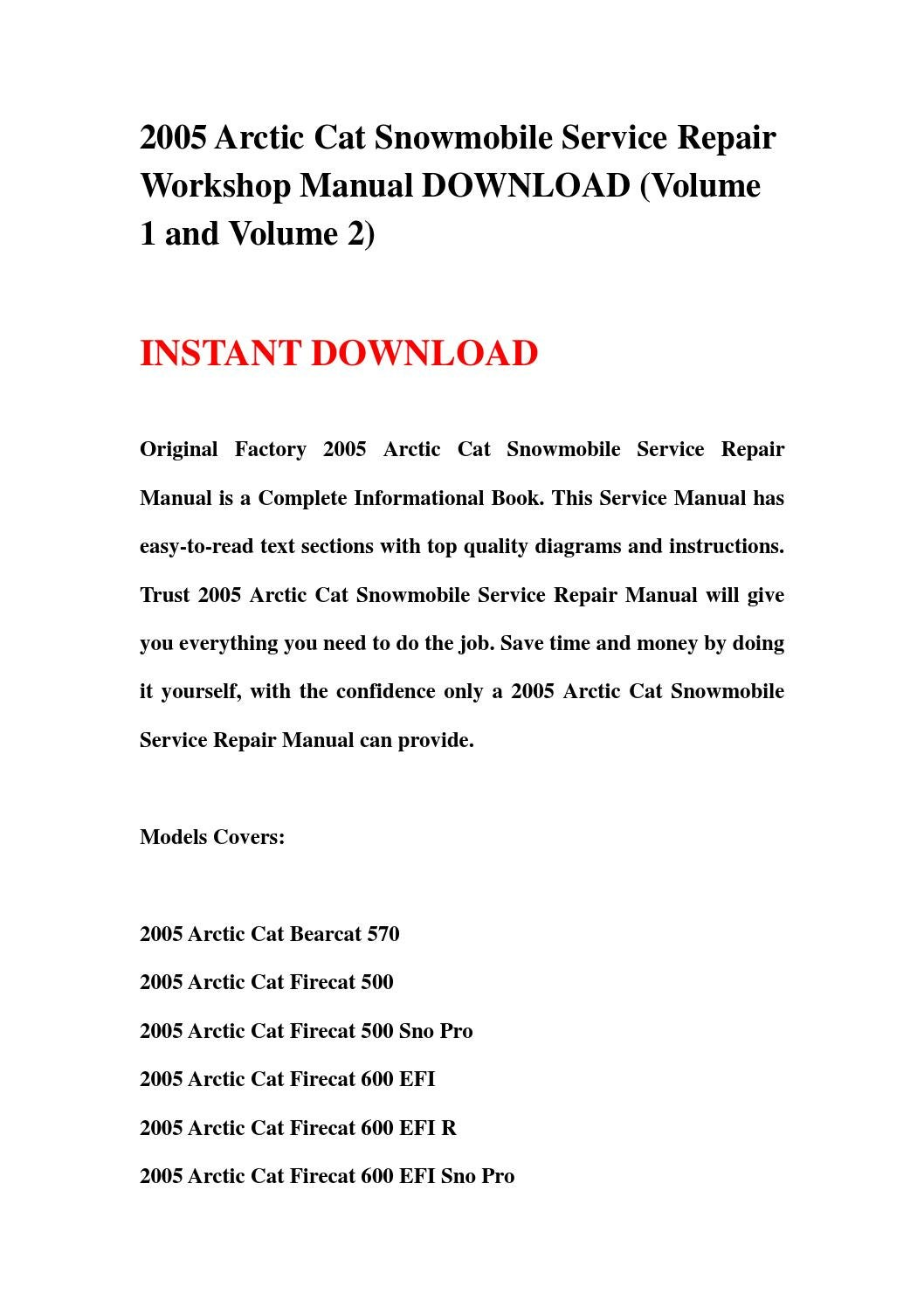 hight resolution of 2005 arctic cat snowmobile service repair workshop manual download volume 1 and volume 2