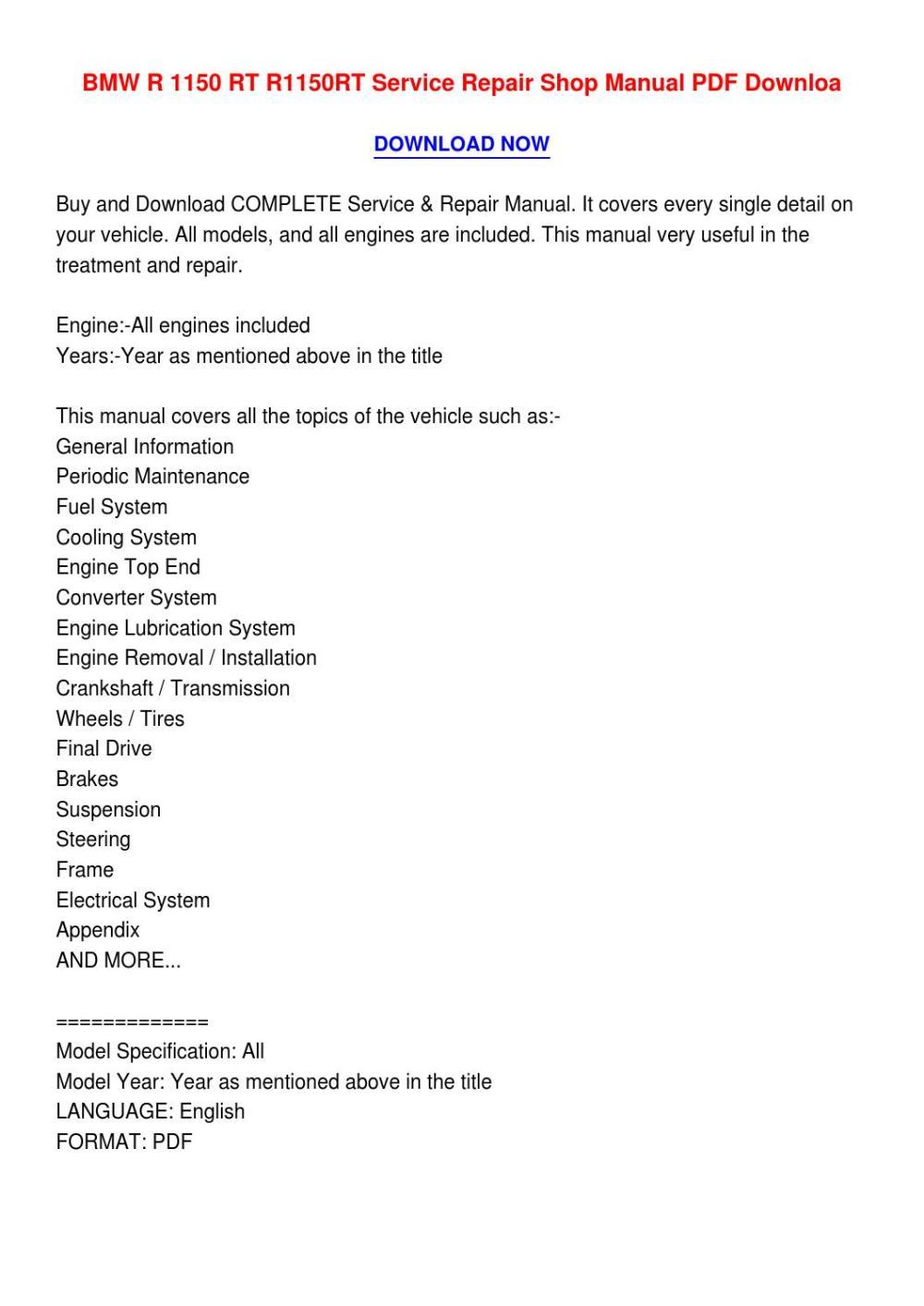 medium resolution of bmw r 1150 rt r1150rt service repair shop manual pdf downloa4 by catherinemonsonvhav issuu