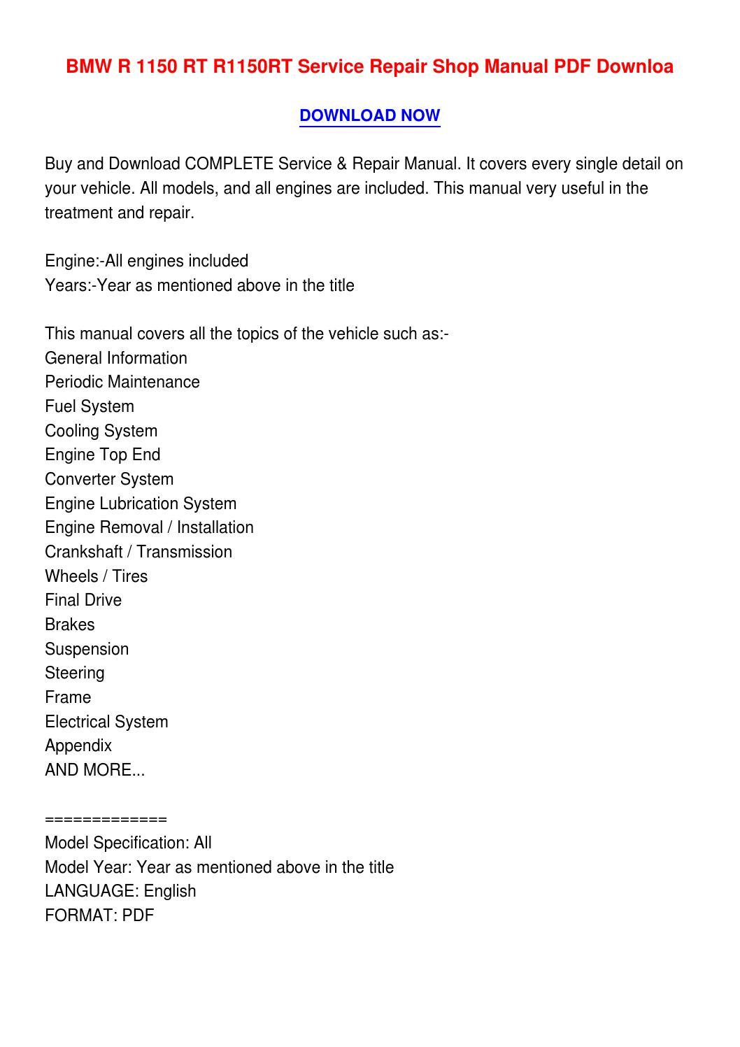 hight resolution of bmw r 1150 rt r1150rt service repair shop manual pdf downloa4 by catherinemonsonvhav issuu