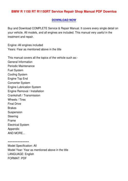 small resolution of bmw r 1150 rt r1150rt service repair shop manual pdf downloa4 by catherinemonsonvhav issuu