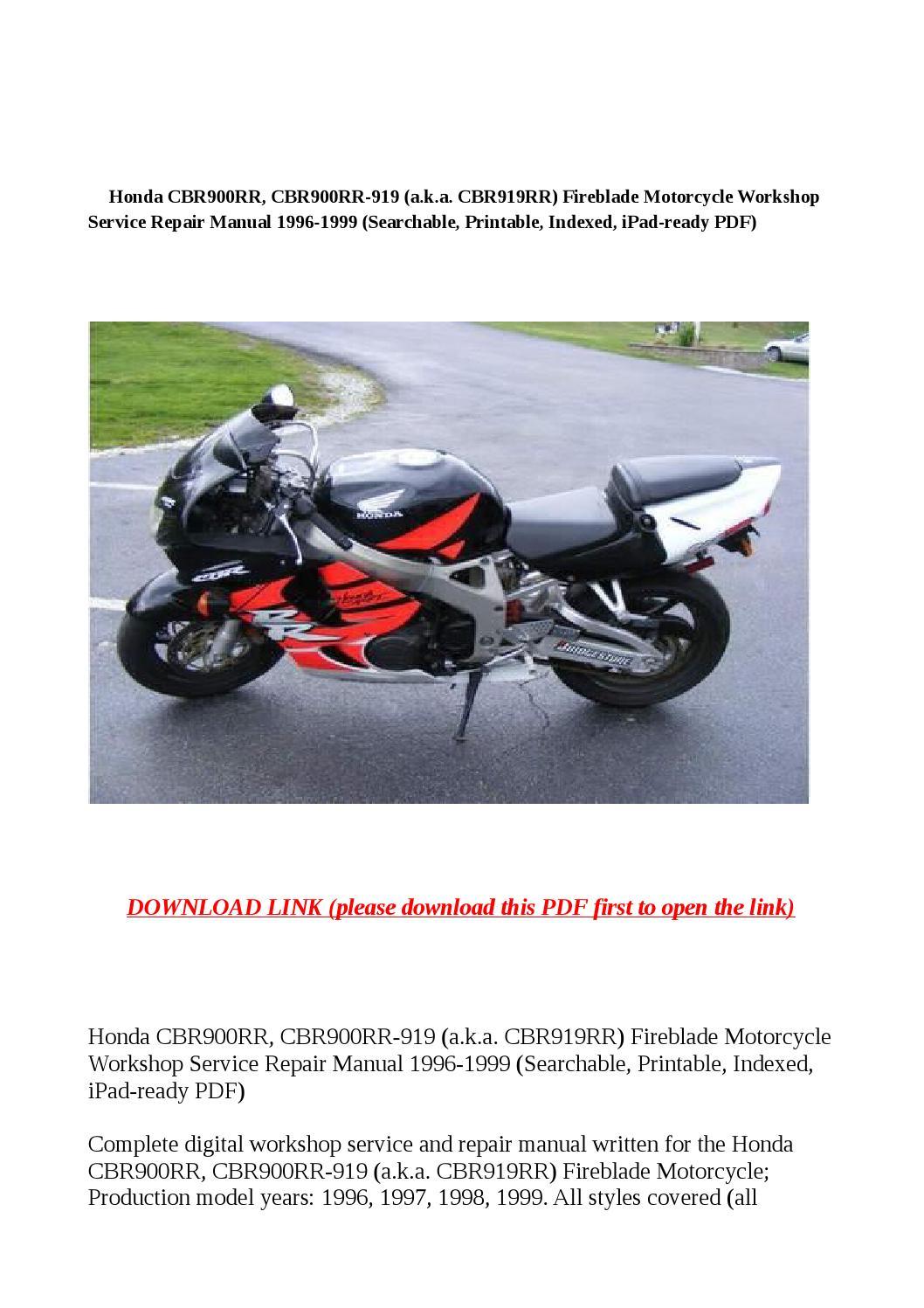 hight resolution of honda cbr900rr cbr900rr 919 a k a cbr919rr fireblade motorcycle workshop service repair manual 19