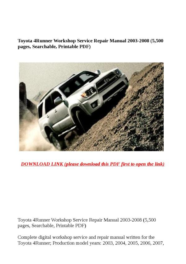Toyota 4runner Repair Manual Pdf - Year of Clean Water
