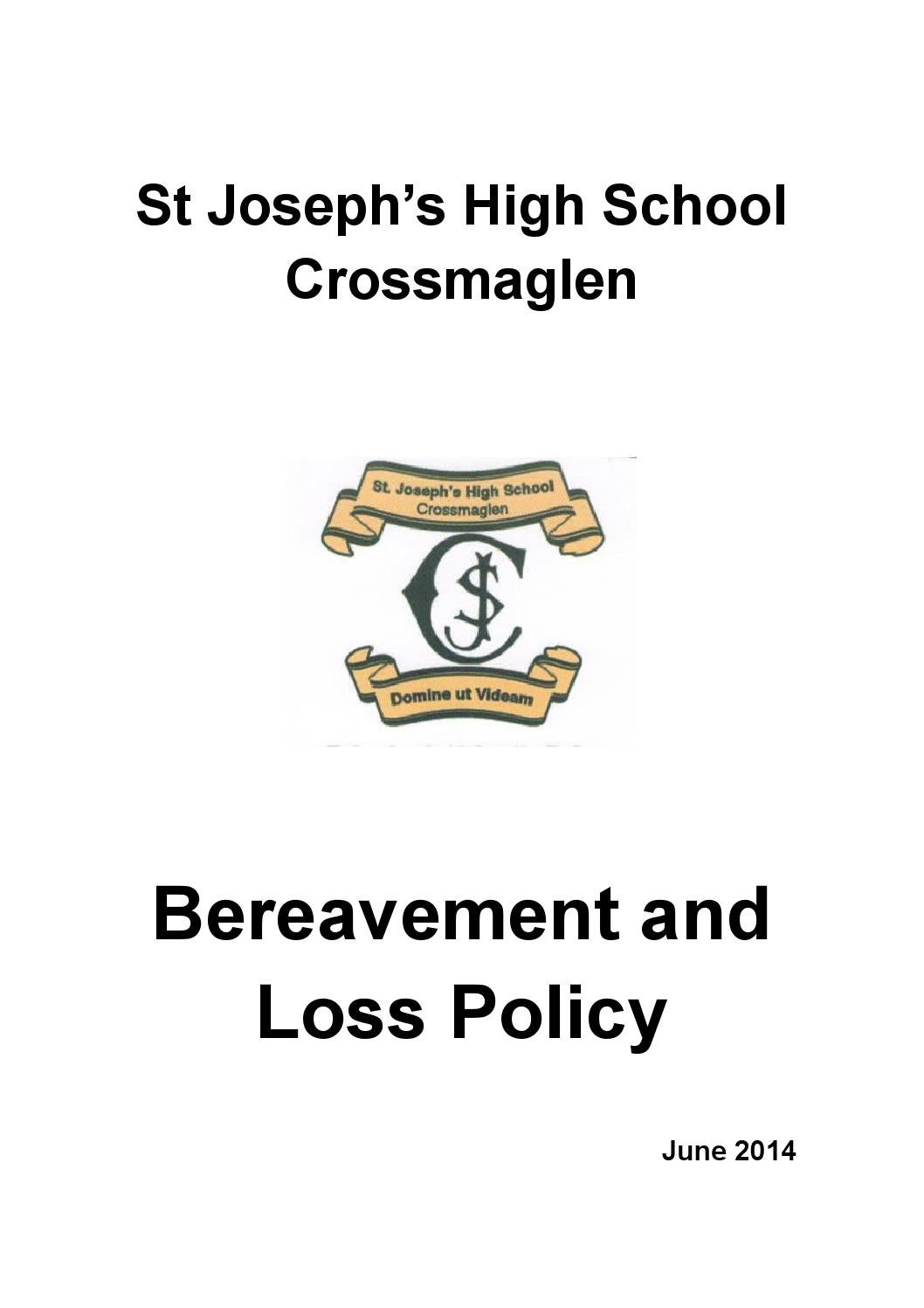 St joseph's bereavement and loss policy by St Joseph's HS