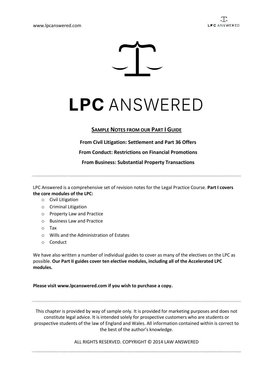 LPC Answered Part I  Sample Chapter BLP Litigation