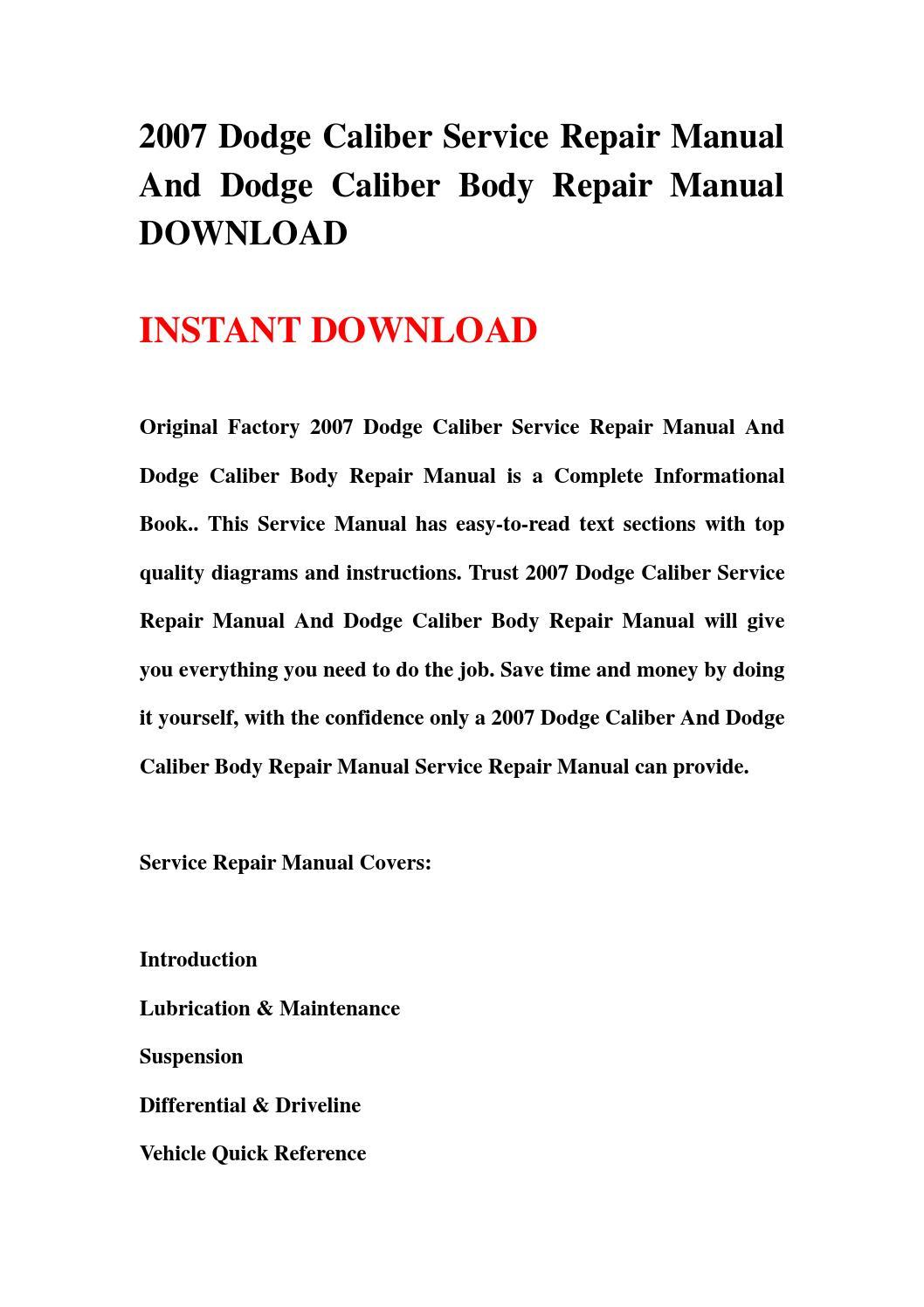 2007 dodge caliber horn wiring diagram teeth with numbers and names service repair manual