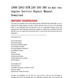 1998 2003 ktm 250 300 380 sx mxc exc engine service repair manual download by jshnefm uhsnefn issuu [ 1058 x 1497 Pixel ]