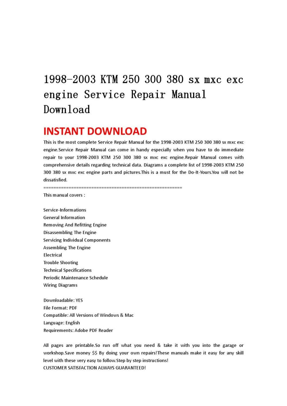 medium resolution of 1998 2003 ktm 250 300 380 sx mxc exc engine service repair manual download by jshnefm uhsnefn issuu