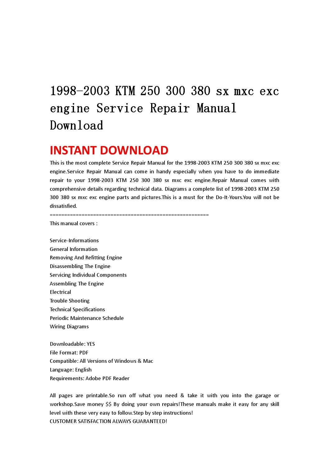 hight resolution of 1998 2003 ktm 250 300 380 sx mxc exc engine service repair manual download by jshnefm uhsnefn issuu