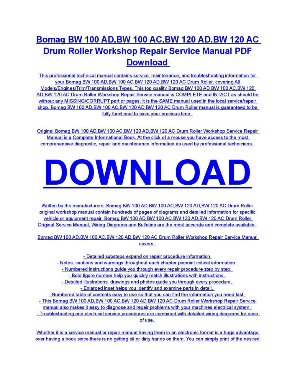 medium resolution of bomag bw 100 ad bw 100 ac bw 120 ad bw 120 ac drum roller service repair workshop manual download