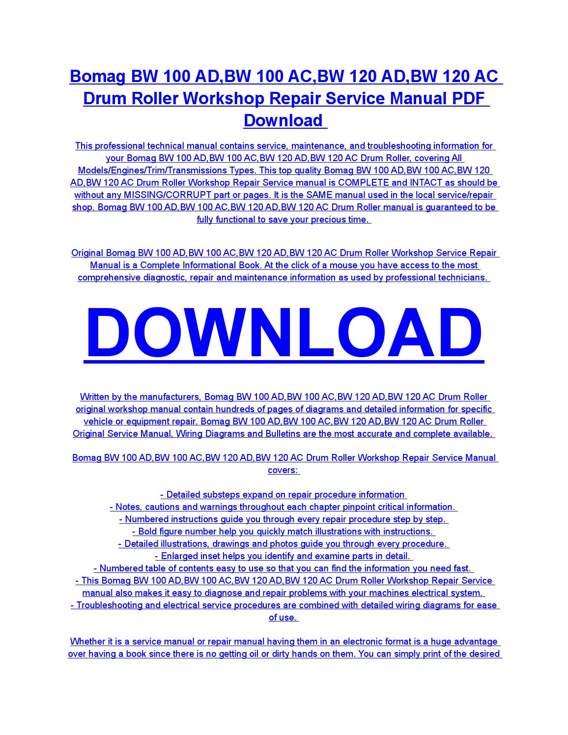 hight resolution of bomag bw 100 ad bw 100 ac bw 120 ad bw 120 ac drum roller service repair workshop manual download