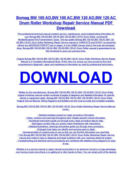 small resolution of bomag bw 100 ad bw 100 ac bw 120 ad bw 120 ac drum roller service repair workshop manual download