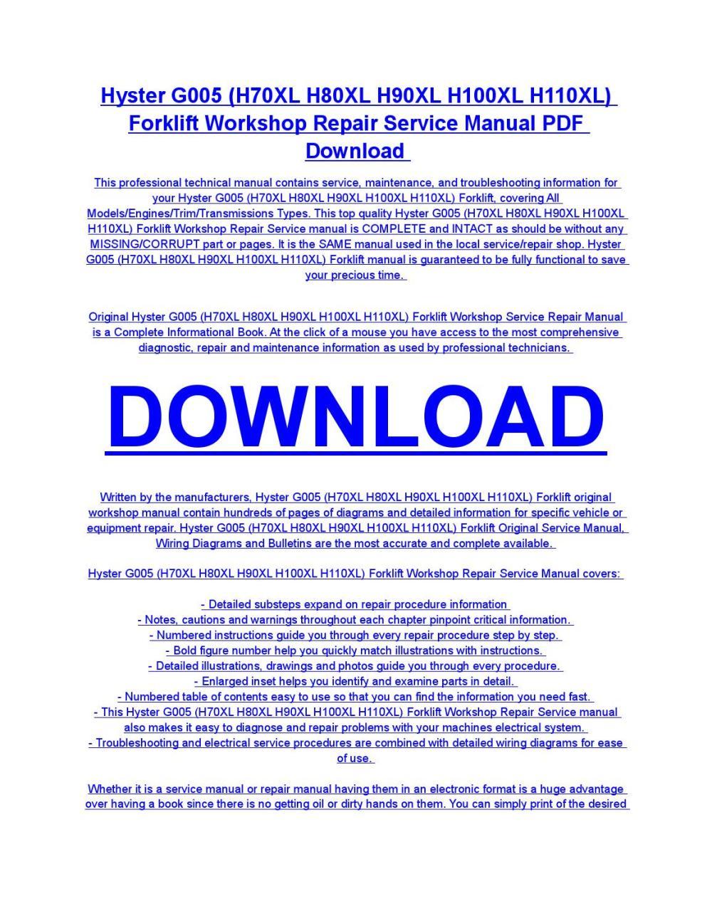 medium resolution of hyster g005 h70xl h80xl h90xl h100xl h110xl forklift service repair workshop manual download by diaz rondon issuu