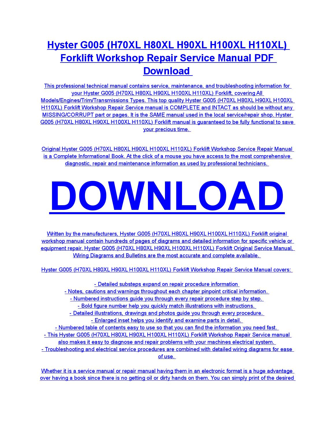 hight resolution of hyster g005 h70xl h80xl h90xl h100xl h110xl forklift service repair workshop manual download by diaz rondon issuu