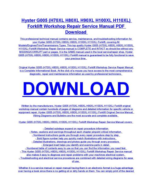 small resolution of hyster g005 h70xl h80xl h90xl h100xl h110xl forklift service repair workshop manual download by diaz rondon issuu