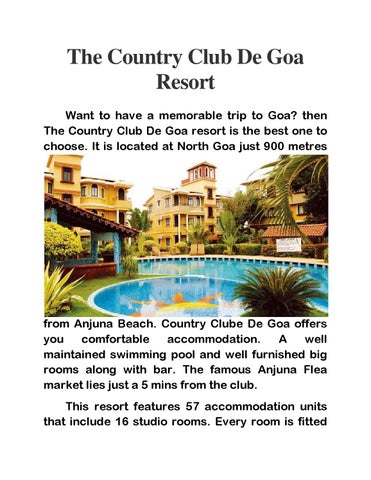 The Country Club De Goa Resort By Country Club India Issuu