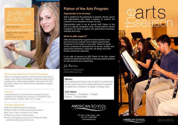 2014-2015 Arts Brochure American School Of Dubai - Issuu