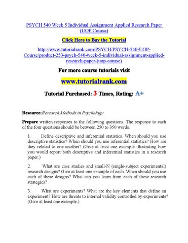 Psych 540 Week 5 Individual Assignment Applied Research Paper By Xcv