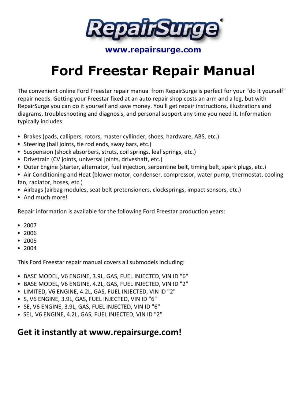 medium resolution of ford freestar repair manual 2004 2007 by macy thomas168 issuu