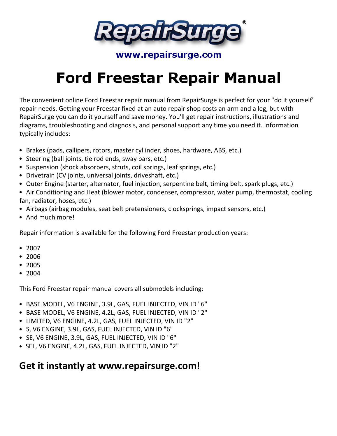 hight resolution of ford freestar repair manual 2004 2007 by macy thomas168 issuu