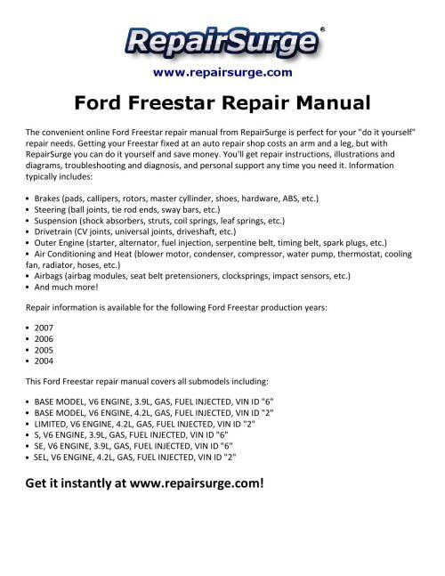 small resolution of ford freestar repair manual 2004 2007 by macy thomas168 issuu