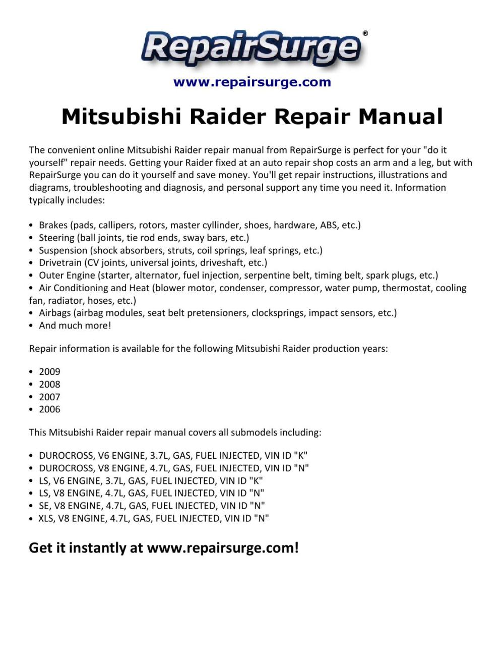 medium resolution of mitsubishi raider engine diagram