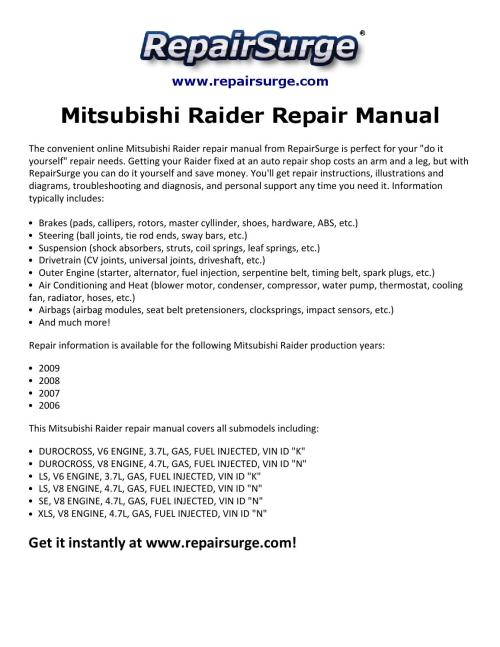 small resolution of mitsubishi raider engine diagram