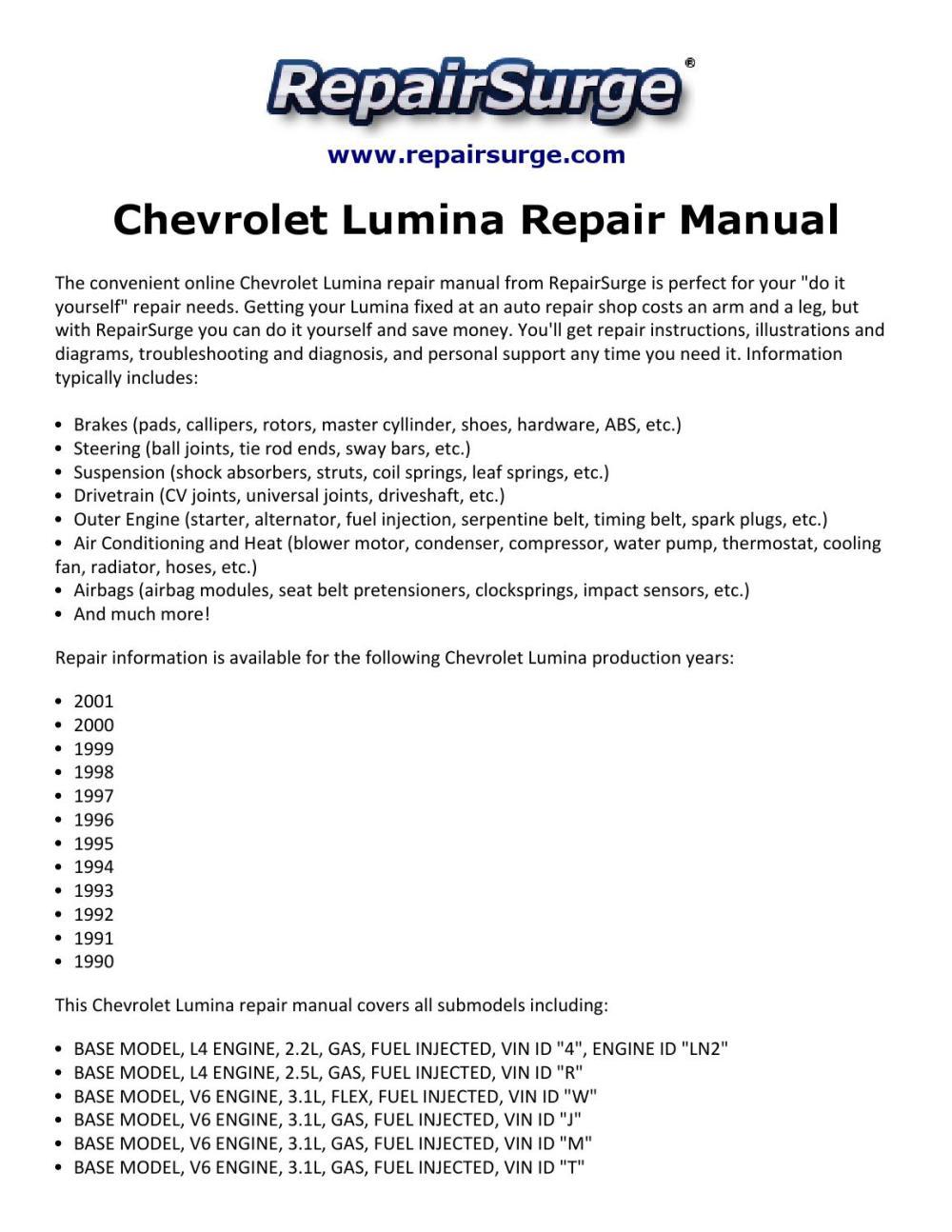 medium resolution of chevrolet lumina repair manual 1990 2001