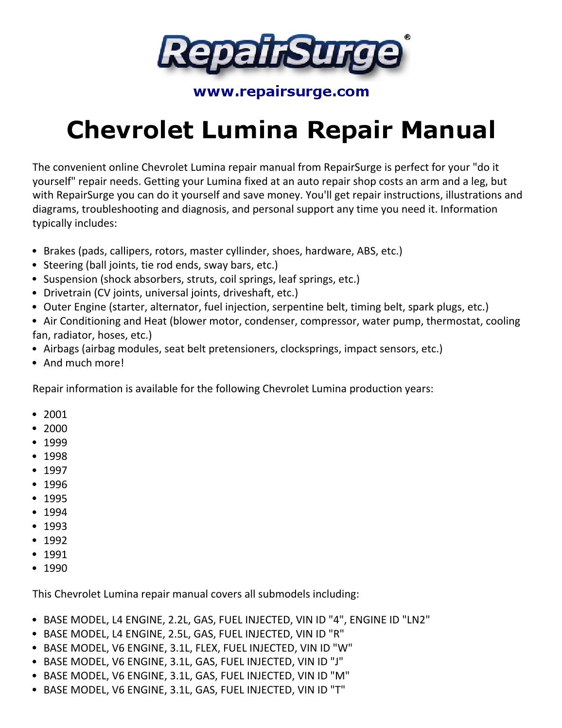 hight resolution of chevrolet lumina repair manual 1990 2001
