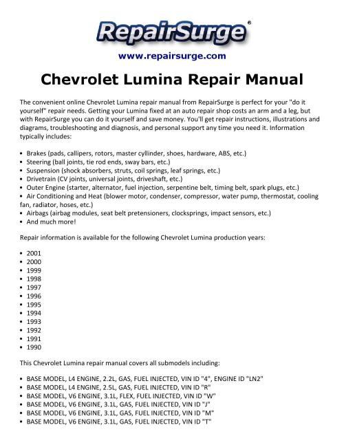 small resolution of chevrolet lumina repair manual 1990 2001