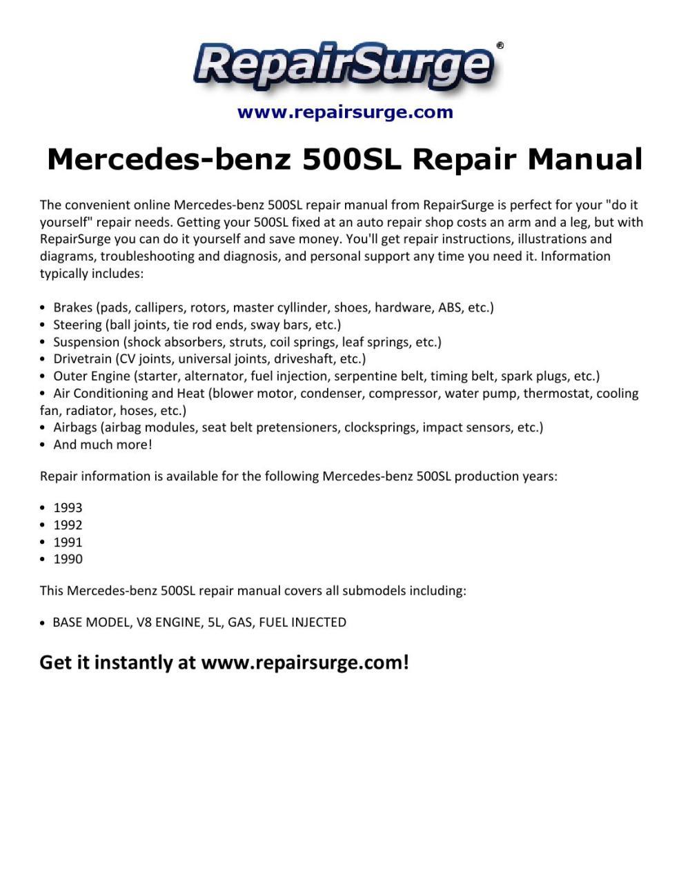 medium resolution of mercedes benz 500sl repair manual 1990 1993 by michael jatenson issuu 1991 mercedes benz sl500 1991 mercedes 500sl engine diagrams