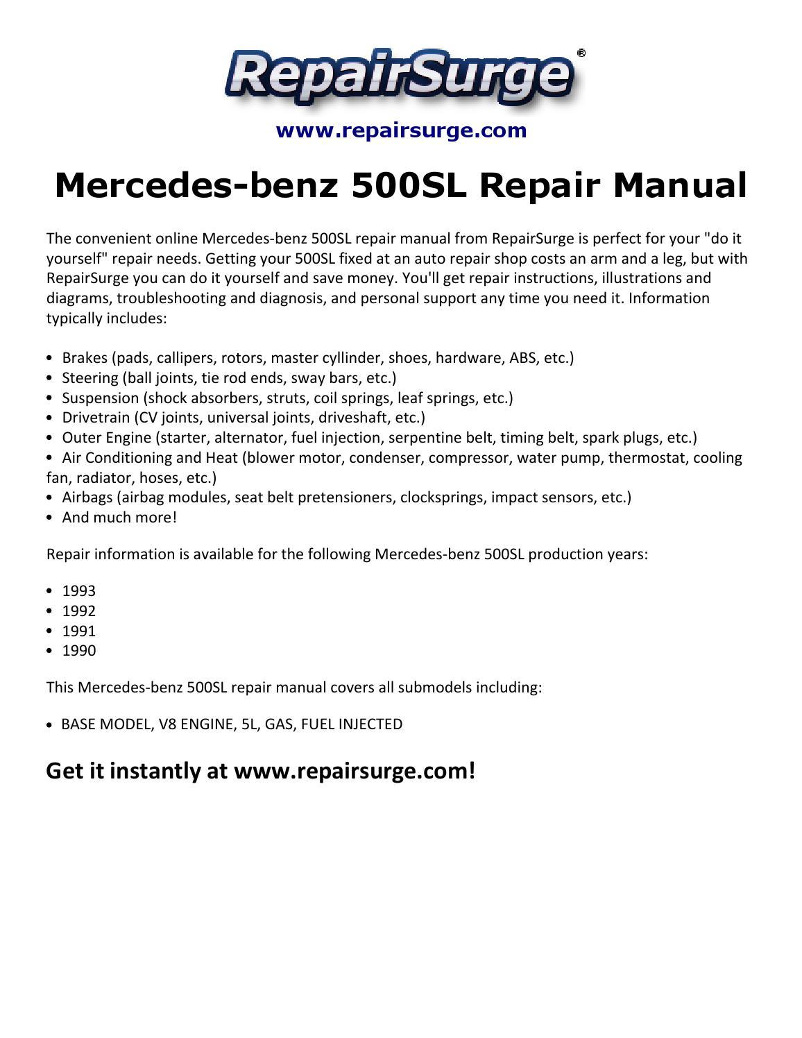 hight resolution of mercedes benz 500sl repair manual 1990 1993 by michael jatenson issuu 1991 mercedes benz sl500 1991 mercedes 500sl engine diagrams