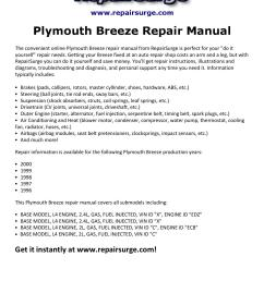 plymouth breeze repair manual 1996 2000 by david williams issuu [ 1156 x 1496 Pixel ]