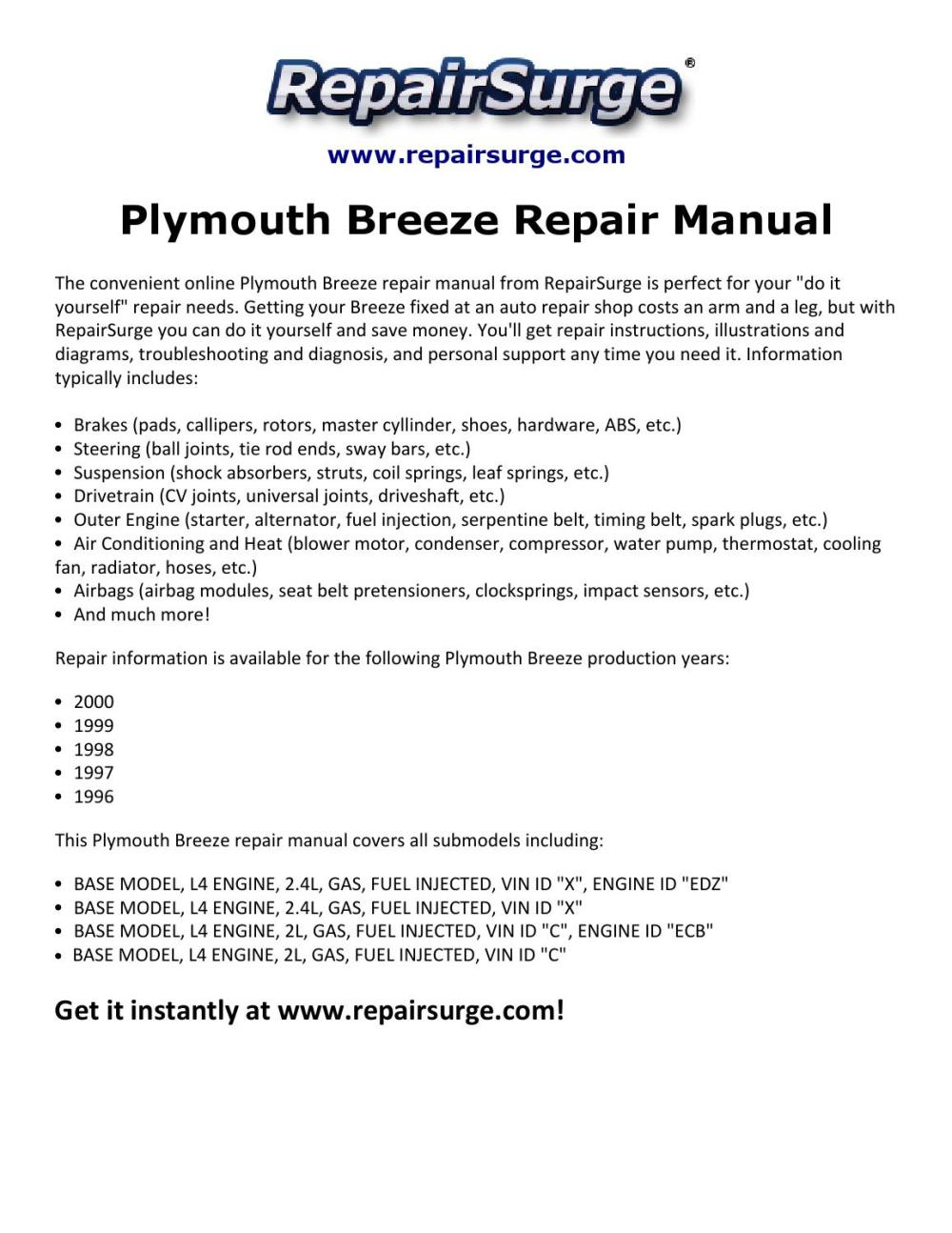 medium resolution of plymouth breeze repair manual 1996 2000 by david williams issuu