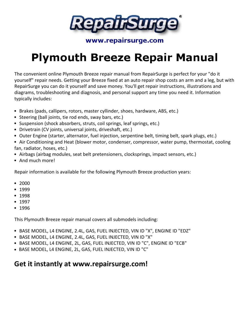 medium resolution of 99 plymouth breeze engine diagram