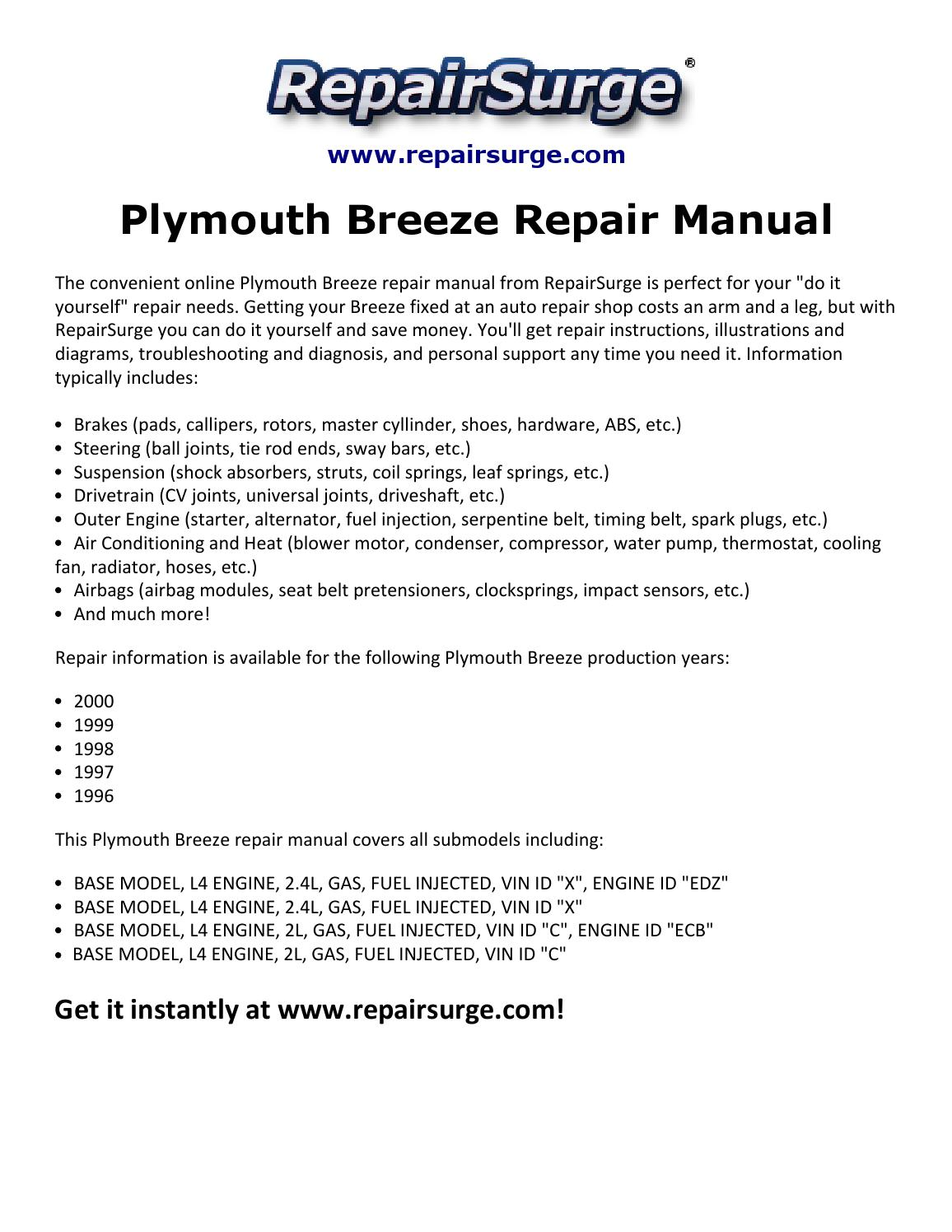 hight resolution of plymouth breeze repair manual 1996 2000 by david williams issuu